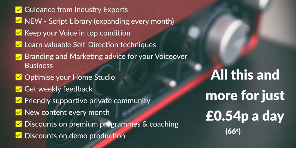 Access the full range of Voiceover Courses  Join the